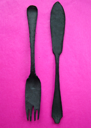 Magie Hollingworth Papier Mache Cutlery on Pink (500)